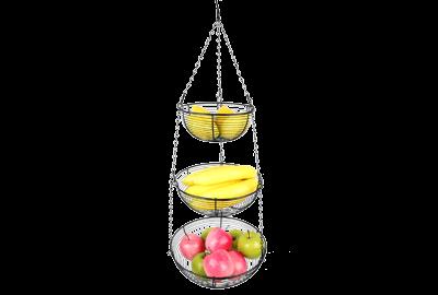 3 Tier Hanging Fruit Basket Black Coating