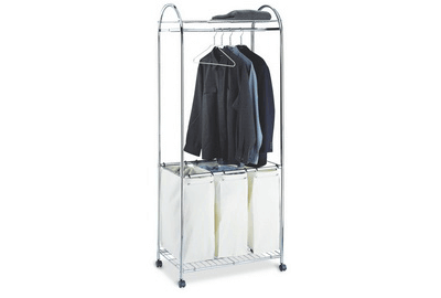 Rolling Laundry Center w Garment Rack & Triple Sorter Hamper