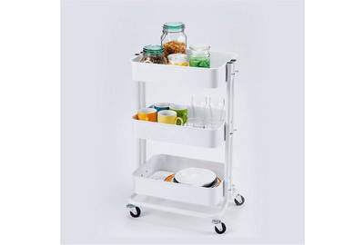 3 Tier Rolling Cart Metal Utility Cart with Handles