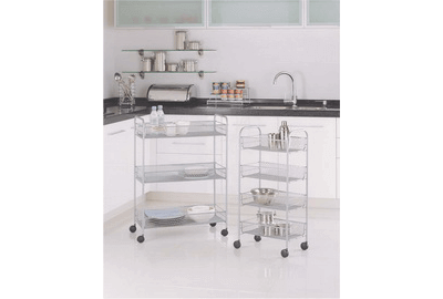 3~4-Tier Metal Mesh Rolling Storage Shelving Rack W Casters